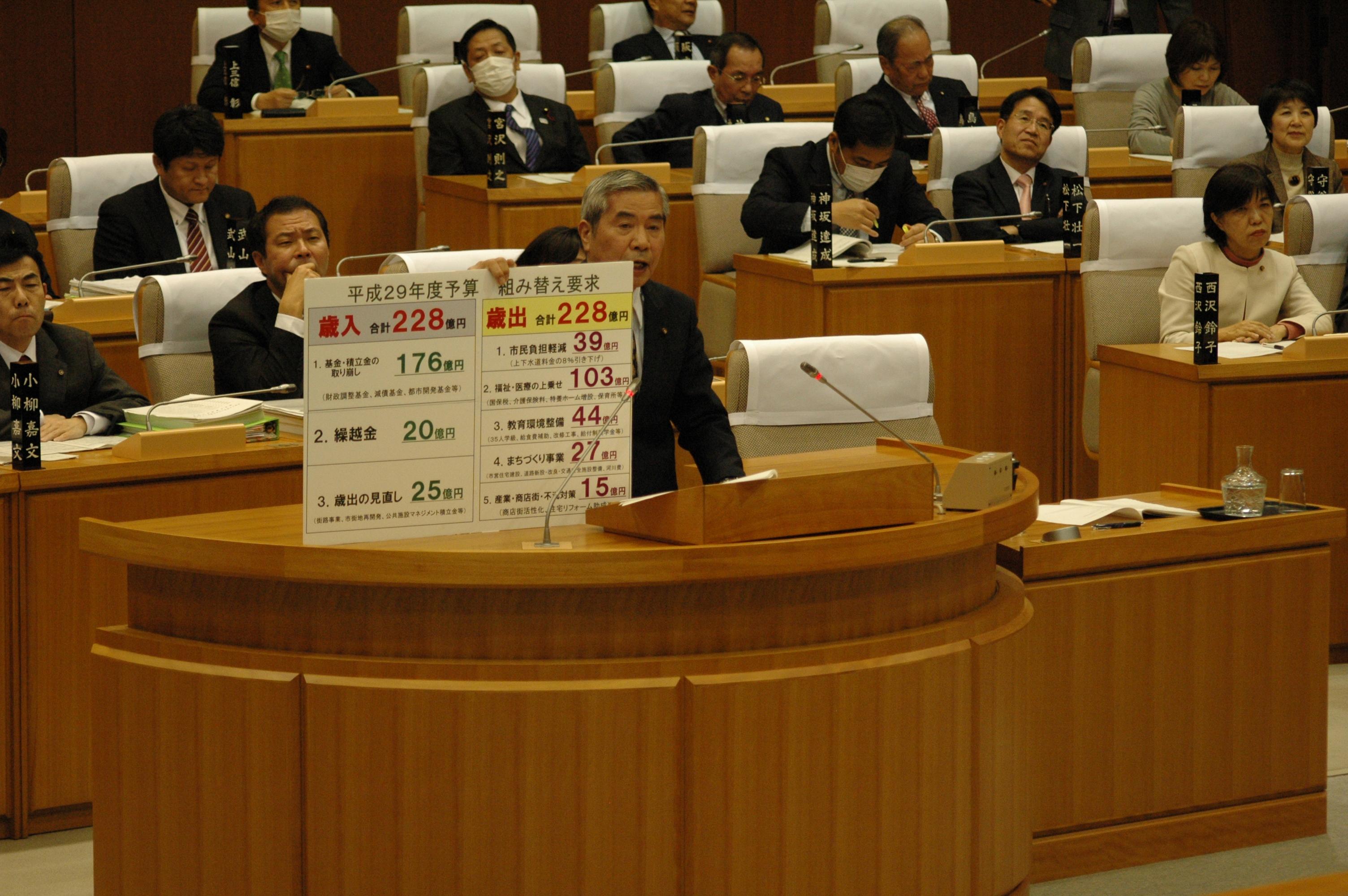 本会議にて代表質問をおこなう山崎あきら市議。党市議団が提出した予算組み替え提案のパネルを市長にしめしています。